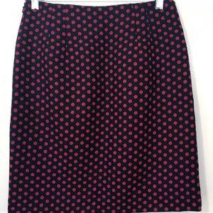 🍁Talbots Navy & Red Polka Dot Pencil Skirt